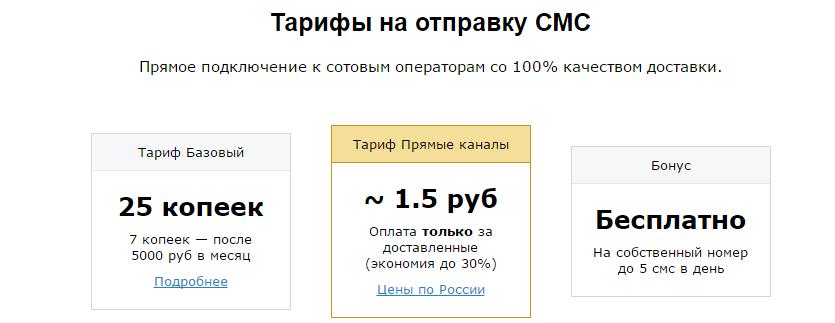 Тарифы на отправку сообщений с сайта по смс