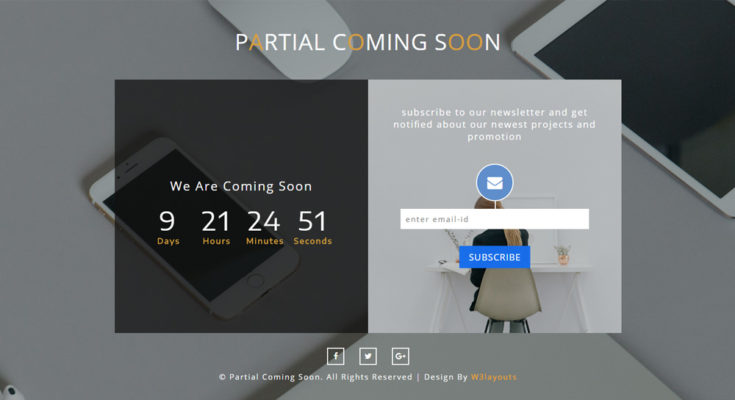 HTML заглушка сайта - Partial coming soon