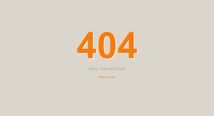 Простой шаблон 404 страницы