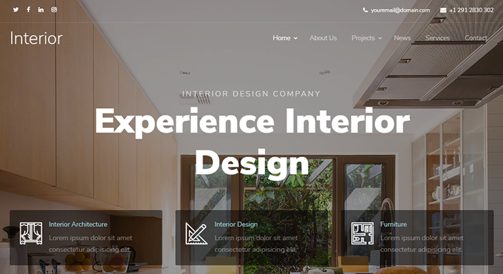 Шаблон Landing page — компания дизайна интерьера